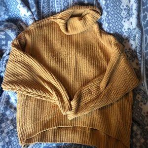 free people mustard oversized turtleneck sweater